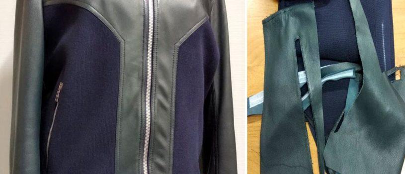 Реставрация кожаной куртки с использованием трикотажного полотна.