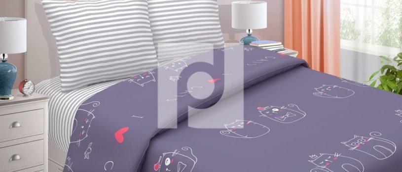 Комплект постельного белья «ЛЯ-МУРР» из поплина – это идеальное решение для любителей котиков.